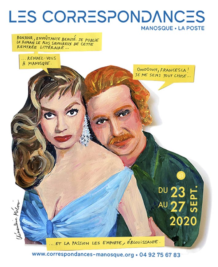L'affiche kitsch du festival les correspondances de Manosque