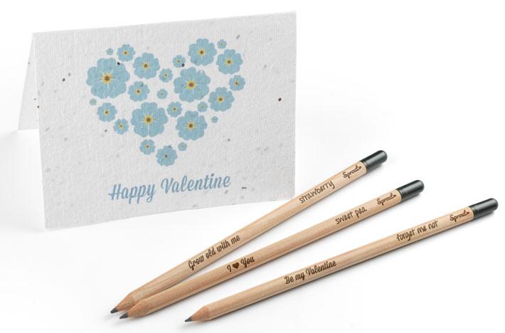 Une carte de St valentin et des crayons à faire pousser