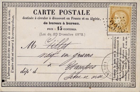 Carte postale de 1874