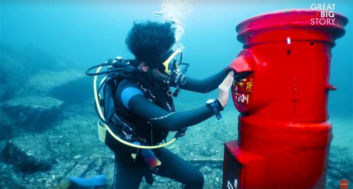 Japon insolite, une boite au lettres sous-marine