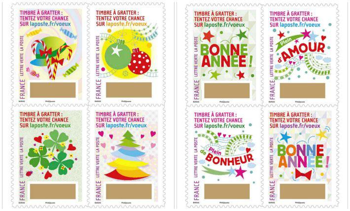 Des timbres à gratter pour les fêtes