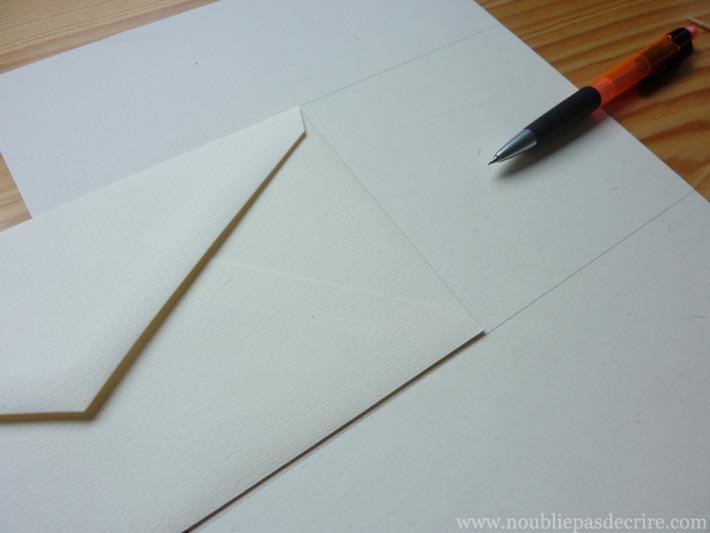 Tuto papier à lettre Étape 3 repérer la pliure