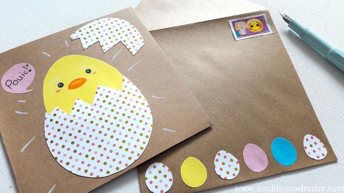 Carte et enveloppe poussin tuto pour Pâques ou le printemps