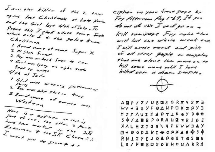 Les lettres codées du tueur du Zodiaque